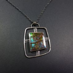 Statement Cross Pendant with Ammolite by oblivionjewellery on Etsy, £229.00  Katie Saunders.