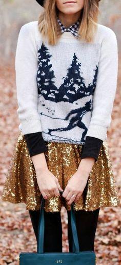 Christmas attire. Gold sequin skirt + Christmas sweater + plaid undershirt.