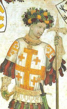 Godfrey of Bouillon holding a pollaxe 1100s.