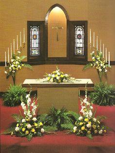 Wedding decoration in church for 2012 wedding decorations in church church altar area junglespirit Images