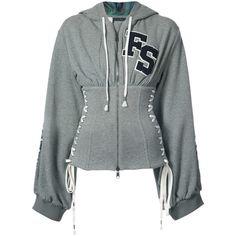 Puma Grey Corset Zipped Hoodie ($1,500) ❤ liked on Polyvore featuring tops, hoodies, grey, zipper corset, zipper hooded sweatshirt, puma hoodie, gray hoodie and cotton hoodie
