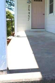 before and after of cement porch painted with epoxy paint outside