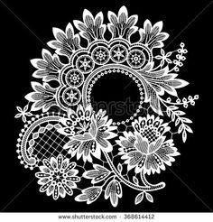 Lace Cipcle Frame Vector - stock vector