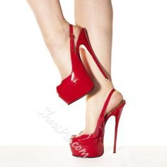 Shoespie Red Patent Plus Size Peep-toe Heels
