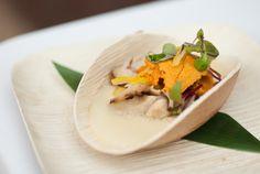 "Uni Chawan Mushi: Traditional Egg Custard with Shrimp, Chicken, Sea Urchin, Shiitake Mushrooms, and Dashi from Rising Star Chef Manabu ""Hori"" Horiuchi of Kata Robata"