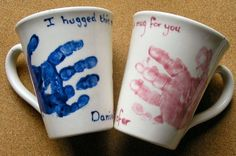 Handprint mugs.  Great for end of the year parent gifts!