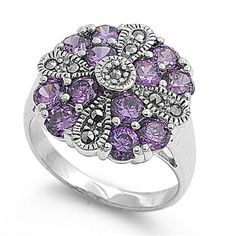 #Recomendados #GuiladJoyas #PortonesShopping Vintage Style Rings, Fantasy Jewelry, Vintage Flowers, Sterling Silver Rings, Jewelry Box, Amethyst, Vintage Fashion, Stuff To Buy, Accessories