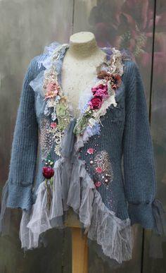 Winter magic cardi II, ornate boho alpaca blend jacket, bohemian romantic, antique laces, altered couture, embroidered details by FleursBoheme on Etsy https://www.etsy.com/au/listing/562147828/winter-magic-cardi-ii-ornate-boho-alpaca