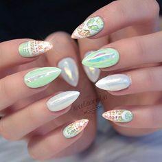 Seafoam Green, White, and Coral Stiletto Nails