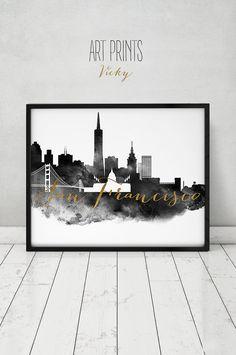 Schwarz / weiss, Simulation von Hochzeit Gästebuch, ArtPrintsVicky, Gold, City-Poster, Wandkunst, Skyline von San Francisco, San Francisco Kunstdruck