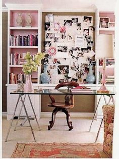 A girlie home office, Glass desk, Light pink walls with white accents, Great images, Wall collage.