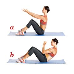 Sit with your knees bent; feet flat on the floor ~ hip-width apart. Extend your arms straight in front of you, palms up. Your back should be straight, your chest up (a). Brace core, curl tailbone under,  slowly lower upper body to 45-deg angle. At the same time, bend arms to bring elbows close to body, closing hands into fists and pulling them toward shoulders at eye level (b). Pause, then reverse the motion to return to start. That's one rep.