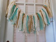 burlap fabric  banner, fabric garland, burlap and lace, window swag, photo prop, teal  turquoise bunting