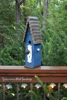 Blue Rustic Birdhouse The Loft - One of a kind! rebeccasbirdgardens - Etsy!