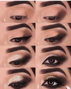 Schnelle Tipps auch # Beauty-Hacks # - make up - Makeup Room Decor Eye Makeup Steps, Smokey Eye Makeup, Eyeshadow Makeup, Makeup Brushes, Makeup Remover, Eyeshadow Brushes, Eyeshadow Palette, Gold Smokey Eye, Black Smokey