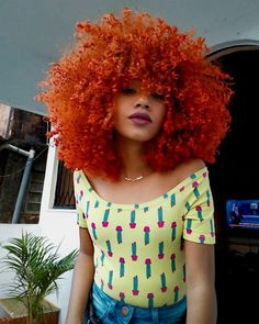 Orange Dye Curly Afro Natural Hair Black Girl Magic In can find Afro and more on our website.Orange Dye Curly Afro Natural Hair Black Girl Magic In Afro Hair Dye, Curly Afro Hair, Curly Hair Styles, 4a Hair, Curly Perm, Curly Bangs, Afro Hair Hacks, 4a Natural Hair Styles, Afro Hair Color