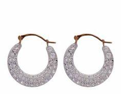 9ct Yellow Gold Crystal Creole Earrings | eternity