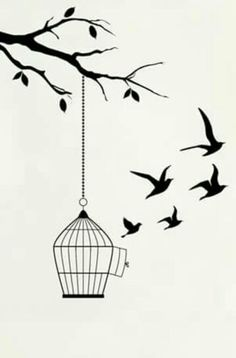 Trendy bird cage tattoo ideas 38 Ideas - - The bird cage is both a house for the chickens and a pretty tool. You can select whatever you need on the list of bird cage versions and get a lot more particular images. Art Drawings Simple, Art Painting, Sketches, Cage Tattoos, Birdcage Tattoo, Art Drawings Sketches Pencil, Drawing Sketches, Bird Drawings, Pencil Art Drawings