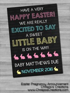 Do you want to SURPRISE YOUR HUSBAND?! Or maybe let everyone know about your new pregnancy? Well you can share the information of your expanding family with this upload-able and printable Easter Pregnancy Announcement perfect for a mother-to-be to send out or post online!