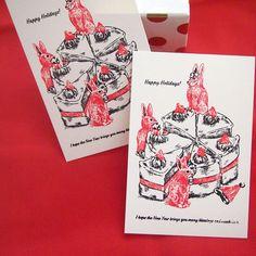 クリスマスカード3枚セットです。◎3匹のうさぎとホールのケーキhappy Holidays!I hope the new year brings you ma...|ハンドメイド、手作り、手仕事品の通販・販売・購入ならCreema。