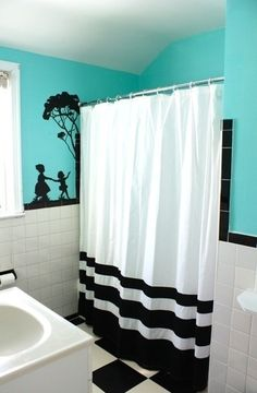 Rooms Beautified By Strategic Splashes Of Color Turquoise, black, and white bathroom. This would look better with a bold pattern on the shower curtainTurquoise, black, and white bathroom. This would look better with a bold pattern on the shower curtain Style At Home, Piece A Vivre, Deco Design, My New Room, My Dream Home, Sweet Home, New Homes, House Design, House Styles