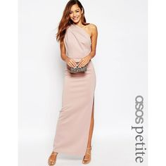 ASOS PETITE One Shoulder Maxi Dress With Exposed Zip ($93) ❤ liked on Polyvore featuring dresses, nude, petite, one shoulder dress, one shoulder maxi dress, empire maxi dress, maxi dresses and slimming cocktail dresses