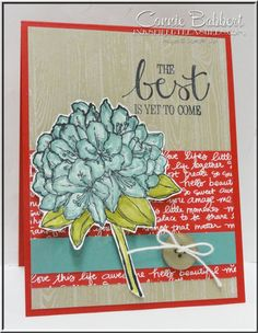 Create with Connie and Mary Color Challenge, CCMC362, Best Thoughts, Hydrangea, flowers, Stampin' Up!, #stampinup, created by Connie Babbert, www.inkspiredtreasures.com