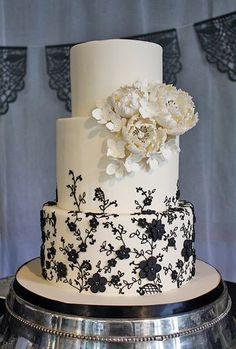 Black Lace Inspired Wedding Cake