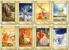 The Llewellyn Tarot is based on the legends and mythology of Wales. Created by Anna-Marie Ferguson, the watercolour paintings depict characters and myths of ancient Wales as described in the Mabinogion. 78 cards, published by Llewellyn, 2006.