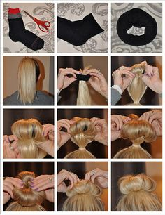 sock bun tutorial <3 if you sleep with the sock bun in over night it will create loose curls/ waves (:
