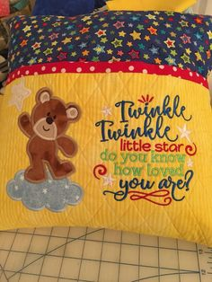 Pillow Embroidery, Machine Embroidery Projects, Machine Embroidery Applique, Embroidery Ideas, Book Pillow, Reading Pillow, Memory Pillows, Kids Pillows, Brother Embroidery