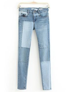 Blue Slim Bleached Denim Pant US$36.33