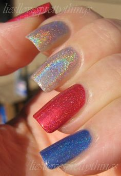 Independence Day Holos-- Jade Psicodelica, Sally Hansen Nail Prisms Golden Tourmaline, Polished Components Sapphire Blue