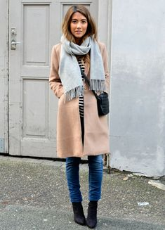 Shop this look on Lookastic:  http://lookastic.com/women/looks/scarf-crew-neck-t-shirt-crossbody-bag-coat-skinny-jeans-ankle-boots/5078  — Light Blue Scarf  — Black and White Horizontal Striped Crew-neck T-shirt  — Black Quilted Leather Crossbody Bag  — Camel Coat  — Navy Skinny Jeans  — Black Suede Ankle Boots