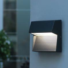 Lutec Radius Square LED Outdoor Wall Light - Grey