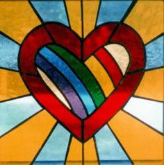 stained glass hearts patterns | Stained Glass Pattern - The Heart of Christ