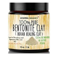 Organics Bentonite Clay 16 oz Molivera Organics Bentonite Clay for Detoxifying and Rejuvenating Skin and Hair, 16 oz.Molivera Organics Bentonite Clay for Detoxifying and Rejuvenating Skin and Hair, 16 oz. Diy Deodorant, Deodorant Recipes, All Natural Deodorant, Soap Recipes, Essential Oils Detox, Glamour Moda, Best Hair Mask, Hair Masks, Indian Healing Clay