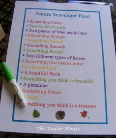 Nature Scavenger Hunt! Now with a link to the ACTUAL post! :) In order to print out her version, you will need to sign up for a 4Shared account.  Or you could just create your own.