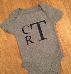Baby Boy Monogram Bodysuit. Baby Onesie. Monogram by KNormDesigns
