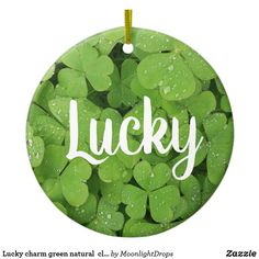 Lucky charm green natural  clover circle ornament.
