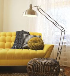 ARCHITECT FLOOR LAMP FOR INDUSTRIAL LIFESTYLE : Stunning Chrome Architect Floor Lamp With Yellow Tufted Couch Feat White Curtain For Wide Gl...