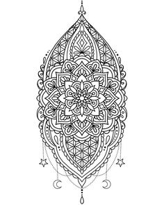 Mandala zentangle coloring page Mandala Tattoo Design, Tattoo Designs, Henna Designs, Mandala Coloring Pages, Animal Coloring Pages, Coloring Books, Flower Mandala, Mandala Art, Trendy Tattoos