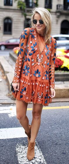 #fall #outfits women's orange, blue, and white floral long-sleeved dress