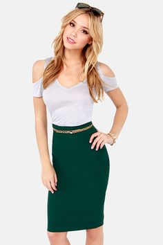 Love this Green Pencil Skirt, Great for thee office or holiday parties.