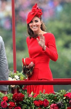 Catherine, Duchess of Cambridge takes part in The Thames River Pageant, as part of the Diamond Jubilee, marking the 60th anniversary of the accession of Queen Elizabeth II on June 3, 2012 in London, England. (Danny Martindale/WireImage/Getty Images)