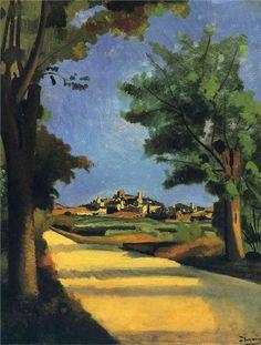 Andre Derain ~ The Road, Musée de l'Orangerie, Paris Andre Derain, Paul Cezanne, Henri Matisse, Raoul Dufy, Pablo Picasso, Landscape Art, Landscape Paintings, Art Fauvisme, Maurice De Vlaminck