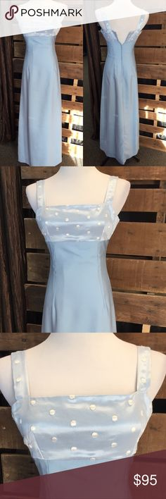 Long Baby Blue Formal Dress Very feminine and romantic is this dress! Small slit in the back. Zips completely but too small for dress form. This dress was custom made by a local seamstress so there's no tag Dresses Prom