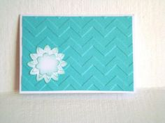 Mini cards tent style white turquoise teal chevron by Wcards, $7.00