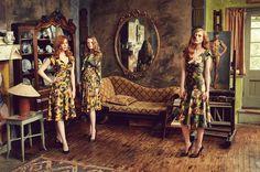 "AW 16/17 ""The Brits"" Catalogue   ""Secret Garden Dress, gold""  ""My Lady Blouse, secret garden"" ""Poetry Skirt, secret garden gold"" ""Secret Garden Dress, green"""