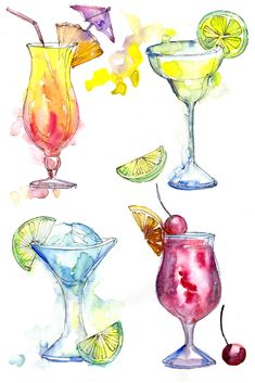 Watercolor Fruit, Watercolor Cards, Watercolor Illustration, Watercolour Painting, Watercolor Artists, Amazing Drawings, Art Drawings, Diy Note Cards, Desserts Drawing
